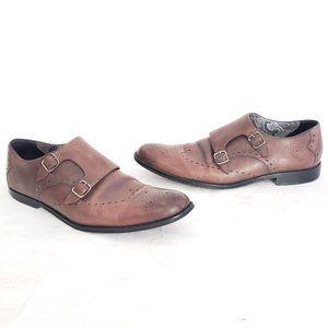 Robert Graham 2-buckle wingtip dress shoes Sz 10.5